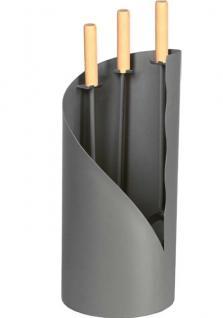Kamingarnitur Kaminzubehör Besteck - anthrazit beschichtet, Griffe aus Holz