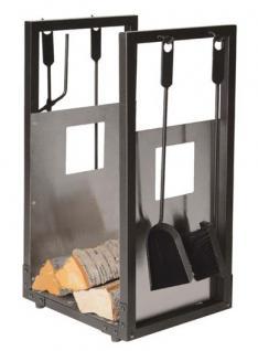Holzkorb inkl. Kaminbesteck - schwarz beschichtet mit Edelstahl Einlage