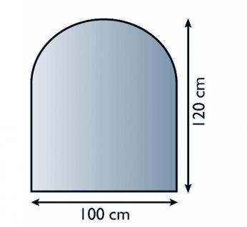Glasbodenplatte Funkenschutz Halbrund 6mm Sicherheitsglas 100cm x 120cm - Vorschau 2