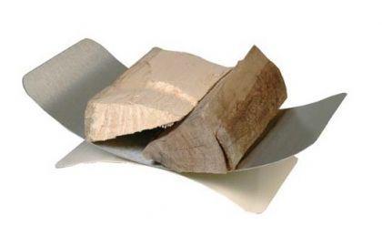 Holzkorb Kaminzubehör Kamingarnitur - Edelstahl matt gebürstet, Sockel - elfenbeinfärbig