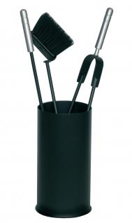 Kaminbesteck Kamingarnitur schwarz beschichtet geschlossener Korpus Höhe 30cm