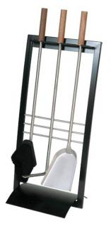 Kaminbesteck Modell 907 - schwarz beschichtet, Besteck - Edelstahl, Griffe - Nussholz