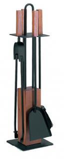 Kaminbesteck Kaminzubehör - schwarz beschichtet mit Griffen und Sockel - Eiche gedämpft, Höhe - 65cm