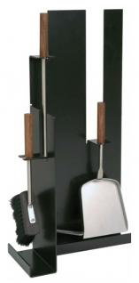 Kaminbesteck Modell 956 - schwarz beschichtet, Besteck - Edelstahl, Griffe - Nussholz