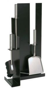 Kamingarnitur Kaminzubehör Kaminbesteck - schwarz beschichtet, Besteck & Griffe aus Edelstahl