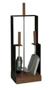 Kaminbesteck Modell 959 - schwarz beschichtet, Besteck - Edelstahl, Griffe - Nussholz