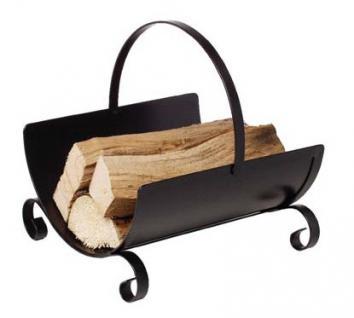Holzkorb Kamingarnitur Kaminzubehör - schwarz lackiert mit umlegbarem Griff