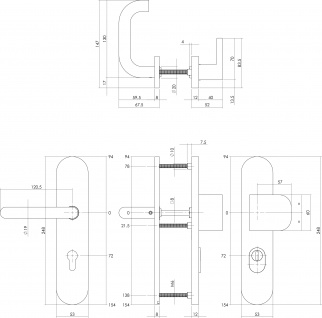 Intersteel Sicherheitsbeschlag SKG3 mit Profilzylinder-Lochung 72 mm und Kernziehschutz oval Vordertürbeschlag Edelstahl gebürstet - Vorschau 2