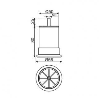 Möbelfuss Sofafuss Sesselfuss mit M8 Gewindestift Höhe 80mm in Chrom- Chrom matt - Vorschau 5