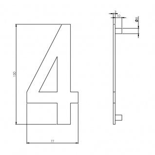 Intersteel Hausnummer 4 150 x 3mm gebürsteter Edelstahl - Vorschau 2
