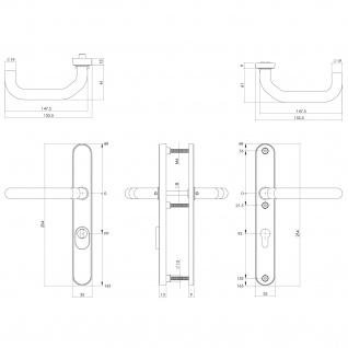 Intersteel Sicherheitsbeschlag SKG3 mit Profilzylinder-Lochung 92 mm und Kernziehschutz gefedert schmal oval Hintertürbeschlag Edelstahl gebürstet - Vorschau 2