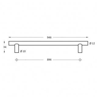 Intersteel Möbelgriff Ø 12 mm, Länge 946 mm Edelstahl gebürstet - Vorschau 2