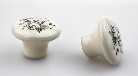 Möbelknopf Schrankknopf Schubladenknopf aus Porzellan zeitlosem Aufdruck ø 32mm