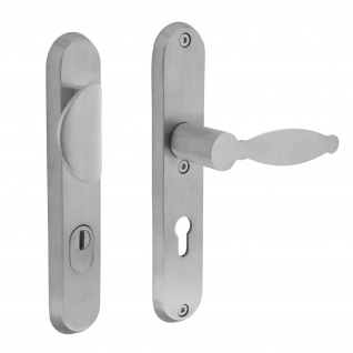 Intersteel Sicherheitsbeschlag SKG3 mit Profilzylinder-Lochung 72 mm Vordertürbeschlag Sliced no. 4 rechts Edelstahl gebürstet mit Kernziehschutz - Vorschau 1