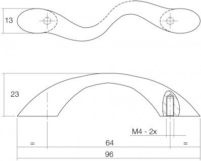 Intersteel Möbelgriff S-förmig 96 mm Nickel matt - Vorschau 2