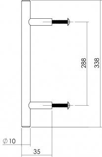 Intersteel Möbelgriff Ø 10 mm, Länge 338 mm Edelstahl gebürstet - Vorschau 2