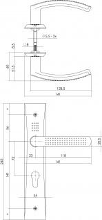 Intersteel Türklinke Madox auf Schild mit Profilzylinder-Lochung 72 mm Chrom - Vorschau 2
