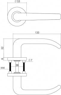 Intersteel Türklinke Säbel Rosette mit Schlüsselloch gebürsteter Edelstahl - Vorschau 2