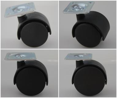 MS Beschläge® Möbelrollen Hartbodenrolle aus Kunststoff mit Anschraubplatte