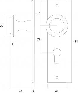 Intersteel Knauf auf rechteckigem Schild mit Profilzylinder-Lochung 72 mm Messing lackiert - Vorschau 2