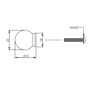 Intersteel Möbelknauf ø 25 mm kugelförmig mit Unterlegplatte Edelstahl gebürstet - Vorschau 2