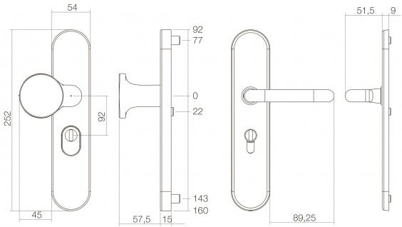 Intersteel Sicherheitsbeschlag SKG3 mit Kernziehschutz und Profilzylinder-Lochung 92 mm Titan anthrazit PVD - Vorschau 2