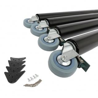 4er Set Tischbeine 870mm ø 60mm auf Rollen mit Bremsen Schwarz