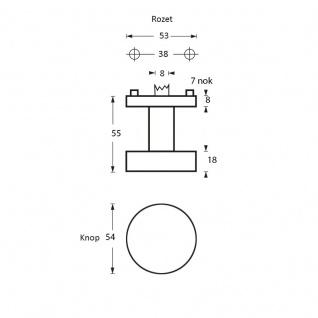 Intersteel Türknauf flach drehbaar Rund ø53 mm gebürsteter Edelstahl - Vorschau 2