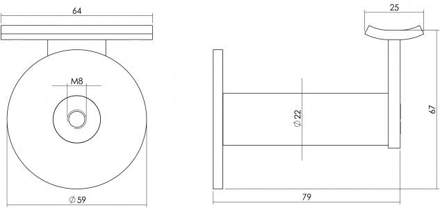 Intersteel Handlaufhalter schwer runde Auflage gebürsteter Edelstahl - Vorschau 2