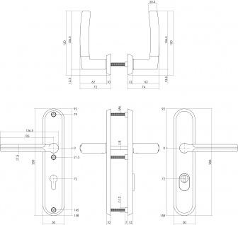 Intersteel Sicherheitsbeschlag SKG3 mit Profilzylinder-Lochung 72 mm und Kernziehschutz Hintertürbeschlag Elegant Fusion Edelstahl gebürstet - Vorschau 2