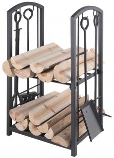 Holzkorb mit Kaminbesteck Holzset Ofenset in Schwarz 5-teilig B / H/ T - 40/ 73/ 30cm