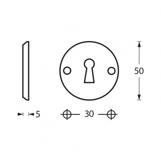 Intersteel Rosette mit Schlüsselloch und Schraublöchern Chrom - Vorschau 2