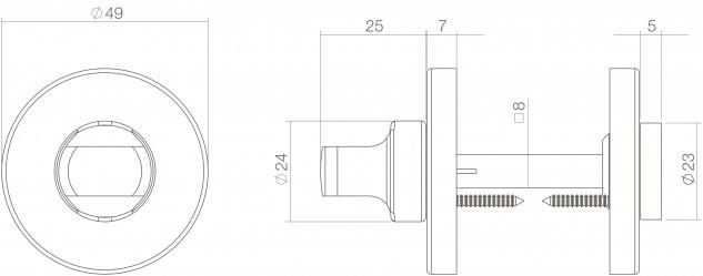 Intersteel Rosette mit Toiletten-/Badezimmerverriegelung 8 mm rund verdeckt Kunststoff Messing lackiert - Vorschau 2