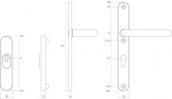 Intersteel Sicherheitsbeschlag schmal SKG3 mit Profilzylinder-Lochung 72 mm und Kernziehschutz oval Vordertürbeschlag Edelstahl gebürstet - Vorschau 2