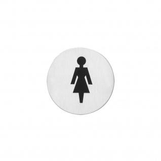 Intersteel Hinweisschilder Damentoilette Rund selbstklebend gebürsteter Edelstahl