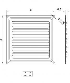 Aluminium Lüftungsgitter Abdeckung Lüftung Rohr Silber 150mm x 150mm - Vorschau 2