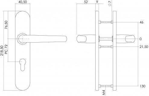 Intersteel Türklinke Säbel auf Schild mit Profilzylinder-Lochung 72 mm Edelstahl gebürstet - Vorschau 2