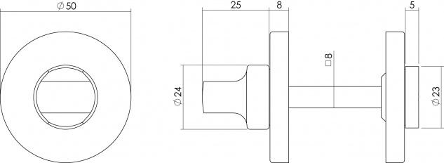Intersteel Rosette mit Toiletten-/Badezimmerverriegelung rund Chrom - Vorschau 2
