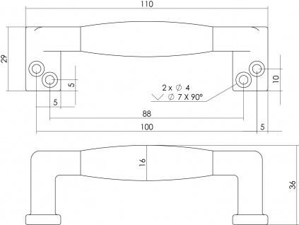 Intersteel Möbelgriff 108 mm Nickel matt schwarzes Holz - Vorschau 2