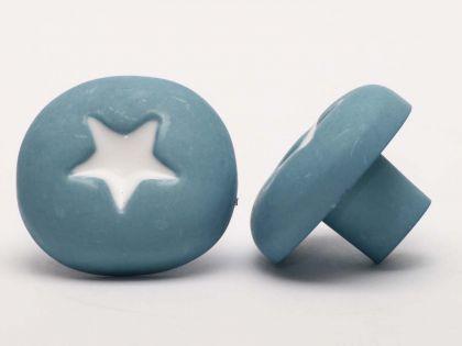 Möbelknopf Schrankknopf fürs Kinderzimmer Modell Blau mit Weißem Stern ø 35mm