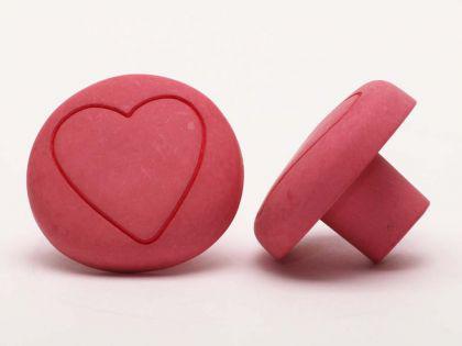 Möbelknopf Schrankknopf fürs Kinderzimmer Modell Rosa Pilz mit Herz ø 35mm