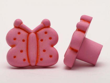Möbelknopf Schrankknopf fürs Kinderzimmer Modell Rosa Schmetterling Breite 33mm