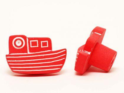 Möbelknopf Schrankknopf fürs Kinderzimmer Modell Rotes Schiff Breite 37mm