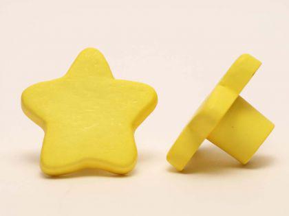 Möbelknopf Schrankknopf fürs Kinderzimmer Modell Gelber Stern Gesamtbreite 35mm