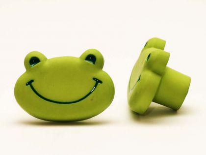 Möbelknopf Schrankknopf fürs Kinderzimmer Modell Grüner Frosch Gesamtbreite 37mm