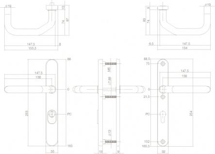 Intersteel Sicherheitsbeschlag schmal SKG3 mit Profilzylinder-Lochung 72 mm und Kernziehschutz Hintertürbeschlag Edelstahl gebürstet - Vorschau 2
