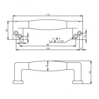 Intersteel Möbelgriff gerade Ebenholz 108 mm Chrom matt - Vorschau 2
