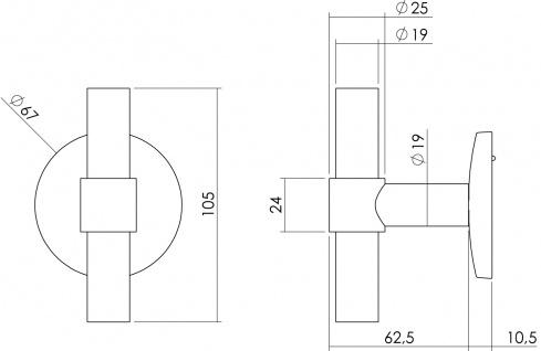Intersteel Haustürknauf T-gerade auf runder Unterlegplatte Edelstahl gebürstet - Vorschau 2