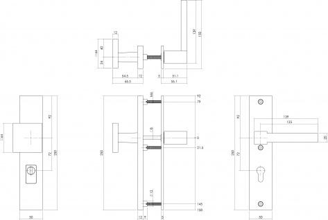 Intersteel Sicherheitsbeschlag SKG3 mit Profilzylinder-Lochung 72 mm und Kernziehschutz Vordertürbeschlag Sliced no. 5 rechts Edelstahl gebürstet - Vorschau 2