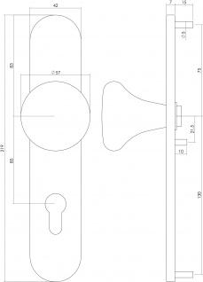 Intersteel Knauf Pilz auf Schild mit Nocken und Profilzylinder-Lochung 92 mm Edelstahl gebürstet - Vorschau 2